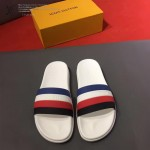 LV鞋子-0024 路易威登一體成型彩條撞色設計原版拖鞋