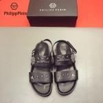 PHILIPP PLEIN鞋子-0027 菲利普•普萊茵涼鞋個性牛徽章原版骷髏頭PP大底涼鞋