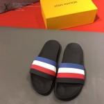 LV鞋子-0024-2 路易威登一體成型彩條撞色設計原版拖鞋