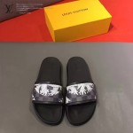 LV鞋子-0019-3 路易威登經典格子印花原版拖鞋