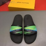 LV鞋子-0025-2 路易威登英文字母拼色撞色原版拖鞋
