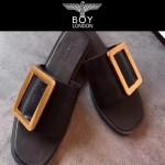 BOYY鞋子-001-2 潮流百搭原單進口牛皮配大方扣平底拖鞋一字拖