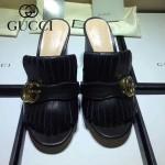 GUCCI鞋子-008-2 古馳專櫃新款雙G扣配穆勒流蘇魚嘴高跟拖鞋