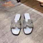 HERMES鞋子-009 愛馬仕小辣椒同款H字羊猄皮鑲嵌小鑽平底拖鞋