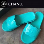 CHANEL鞋子-0013 香奈兒春夏新款雙C進口牛漆皮平底拖鞋一字拖