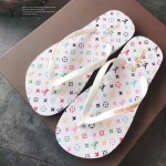 LV鞋子-003 路易威登專櫃限量紀念版33彩白彩平底人字拖沙灘鞋