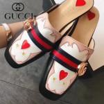 GUCCI鞋子-007-2 古馳時尚復古風雙G扣配織帶方頭平底拖鞋