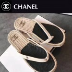 CHANEL鞋子-0016 香奈兒夏日西班牙進口牛皮草編平底夾趾拖鞋一字拖