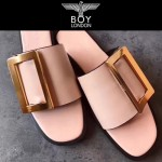 BOYY鞋子-001-5 潮流百搭原單進口牛皮配大方扣平底拖鞋一字拖