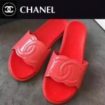 CHANEL鞋子-0013-4 香奈兒春夏新款雙C進口牛漆皮平底拖鞋一字拖