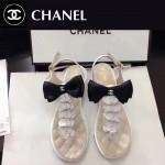 CHANEL鞋子-0018-3 香奈兒春夏最新蝴蝶結珍珠花朵平底夾趾涼鞋