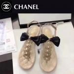 CHANEL鞋子-0018 香奈兒春夏最新蝴蝶結珍珠花朵平底夾趾涼鞋
