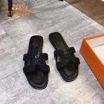 HERMES鞋子-009-5 愛馬仕小辣椒同款H字羊猄皮鑲嵌小鑽平底拖鞋