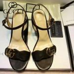 GUCCI鞋子-006-5 古馳專櫃同步黃銅LOGO進口絨皮粗跟高跟涼鞋
