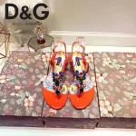 D&G鞋子-004-2 杜嘉班納夏日最新款花魚設計鑲嵌水鑽平底夾趾涼鞋