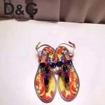 D&G鞋子-004-5 杜嘉班納夏日最新款花魚設計鑲嵌水鑽平底夾趾涼鞋