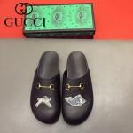 GUCCI鞋子-0036-4 原版牛皮迪士尼系列萌寵男士半拖拖鞋