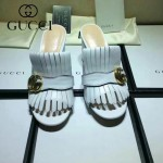 GUCCI鞋子-008-5 古馳專櫃新款雙G扣配穆勒流蘇魚嘴高跟拖鞋