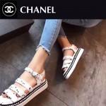 CHANEL鞋子-0014-2 香奈兒夏季新款鑲嵌珍珠綢緞面料厚底涼鞋