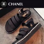 CHANEL鞋子-0014-4 香奈兒夏季新款鑲嵌珍珠綢緞面料厚底涼鞋