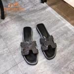 HERMES鞋子-009-4 愛馬仕小辣椒同款H字羊猄皮鑲嵌小鑽平底拖鞋