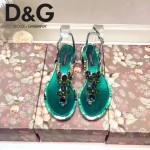D&G鞋子-004 杜嘉班納夏日最新款花魚設計鑲嵌水鑽平底夾趾涼鞋