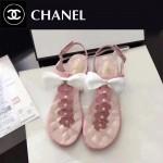 CHANEL鞋子-0018-2 香奈兒春夏最新蝴蝶結珍珠花朵平底夾趾涼鞋