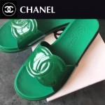 CHANEL鞋子-0013-5 香奈兒春夏新款雙C進口牛漆皮平底拖鞋一字拖
