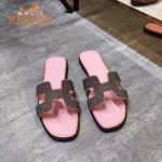 HERMES鞋子-009-3 愛馬仕小辣椒同款H字羊猄皮鑲嵌小鑽平底拖鞋