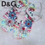 D&G鞋子-004-3 杜嘉班納夏日最新款花魚設計鑲嵌水鑽平底夾趾涼鞋
