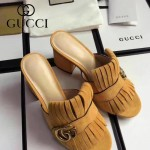 GUCCI鞋子-008-9 古馳專櫃新款雙G扣配穆勒流蘇魚嘴高跟拖鞋