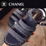 CHANEL鞋子-0014 香奈兒夏季新款鑲嵌珍珠綢緞面料厚底涼鞋