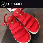 CHANEL鞋子-0014-3 香奈兒夏季新款鑲嵌珍珠綢緞面料厚底涼鞋