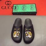 GUCCI鞋子-0036-7 原版牛皮迪士尼系列萌寵男士半拖拖鞋