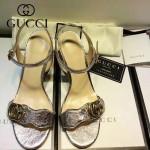 GUCCI鞋子-006-3 古馳專櫃同步黃銅LOGO進口絨皮粗跟高跟涼鞋