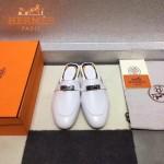 HERMES鞋子-0010-4 愛馬仕春夏新款經典皮扣配原版定制帆布平底拖鞋