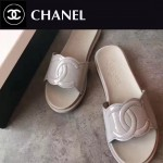 CHANEL鞋子-0013-2 香奈兒春夏新款雙C進口牛漆皮平底拖鞋一字拖