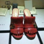 GUCCI鞋子-008 古馳專櫃新款雙G扣配穆勒流蘇魚嘴高跟拖鞋