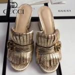 GUCCI鞋子-008-4 古馳專櫃新款雙G扣配穆勒流蘇魚嘴高跟拖鞋