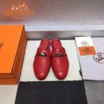 HERMES鞋子-0010-2 愛馬仕春夏新款經典皮扣配原版定制帆布平底拖鞋