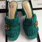 GUCCI鞋子-008-7 古馳專櫃新款雙G扣配穆勒流蘇魚嘴高跟拖鞋