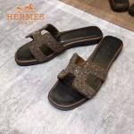 HERMES鞋子-009-2 愛馬仕小辣椒同款H字羊猄皮鑲嵌小鑽平底拖鞋