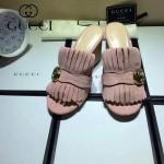 GUCCI鞋子-008-11 古馳專櫃新款雙G扣配穆勒流蘇魚嘴高跟拖鞋