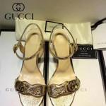 GUCCI鞋子-006-4 古馳專櫃同步黃銅LOGO進口絨皮粗跟高跟涼鞋