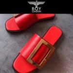 BOYY鞋子-001-4 潮流百搭原單進口牛皮配大方扣平底拖鞋一字拖