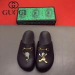 GUCCI鞋子-0036-2 原版牛皮迪士尼系列萌寵男士半拖拖鞋