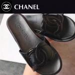 CHANEL鞋子-0013-3 香奈兒春夏新款雙C進口牛漆皮平底拖鞋一字拖