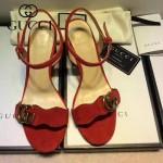 GUCCI鞋子-006 古馳專櫃同步黃銅LOGO進口絨皮粗跟高跟涼鞋