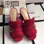 GUCCI鞋子-008-8 古馳專櫃新款雙G扣配穆勒流蘇魚嘴高跟拖鞋