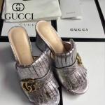 GUCCI鞋子-008-3 古馳專櫃新款雙G扣配穆勒流蘇魚嘴高跟拖鞋